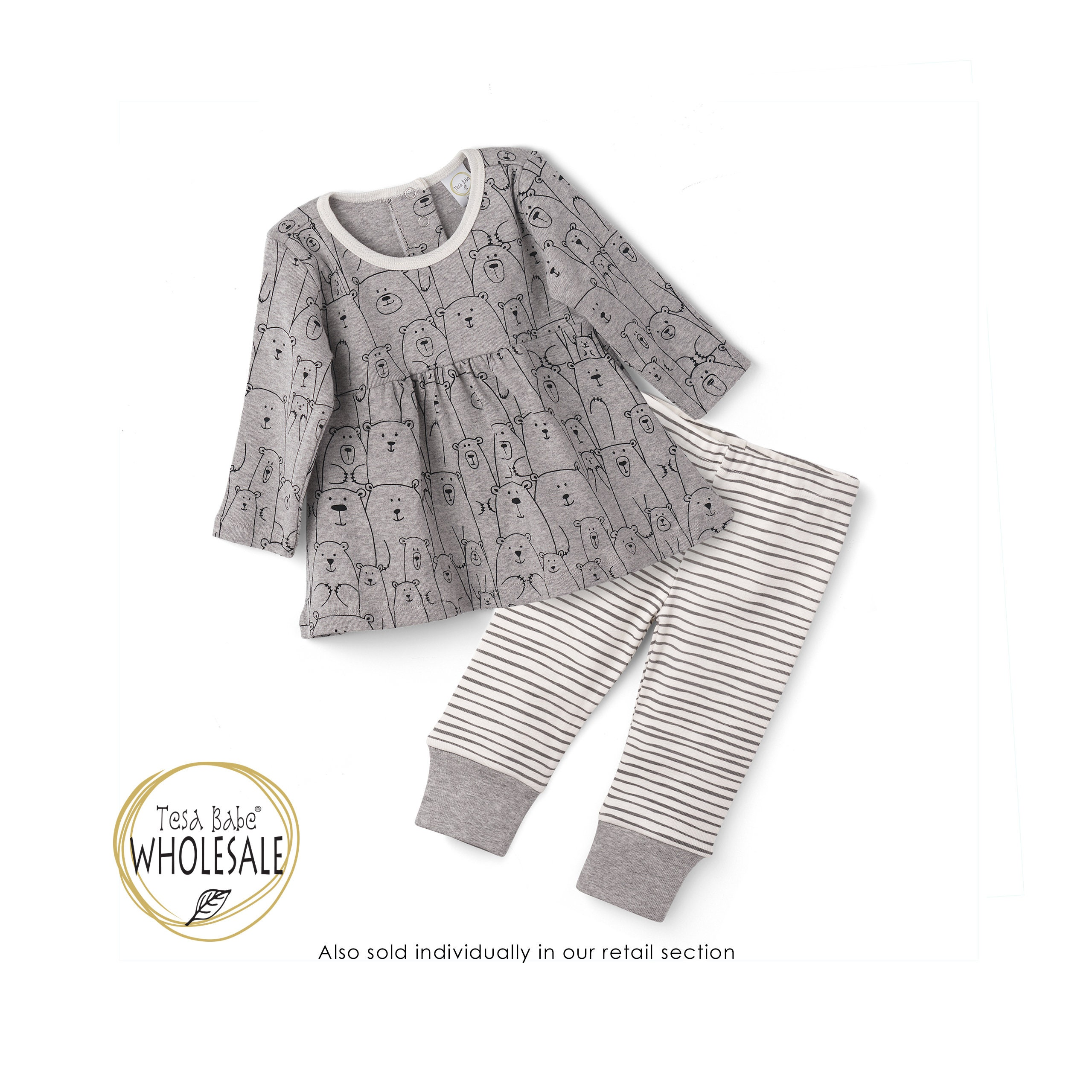 WHOLESALE Baby Outfit, Baby Girl Bear Top Bottom Long Sleeve Outfit ...
