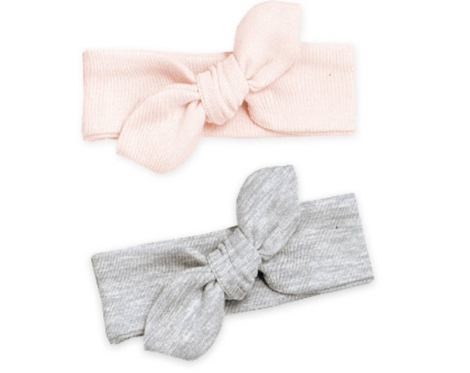 Newborn Headband Bow Gray, Newborn Girl Headband, Baby Headwrap, Baby Girl Bow Pink Headband, Baby Girl Gray Bow, Pink Baby Knot, Tesababe
