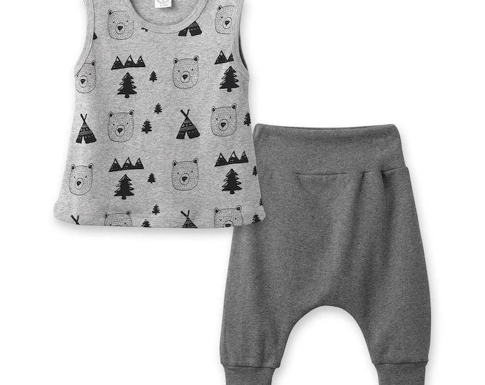 Newborn Baby Coming Home Outfit, Baby Boy Harem Pants Bears, Baby Short Sleeve Play Outfit, Infant Baby Bears Outfit, Camping Tesa Babe