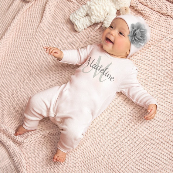 Personalised Letter and Name Short Romper 100/% Cotton Newborn Hospital Baby