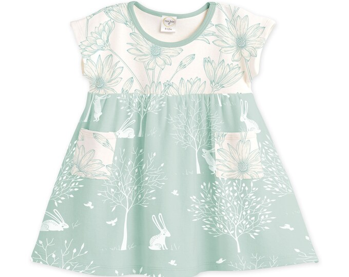SPRING SALE! Baby Girl Dress, Newborn Baby Girl Dress, Bunny Baby Outfit, Newborn Girl Dress, Spring Bunny Dress, Spring Baby Dress TesaBabe