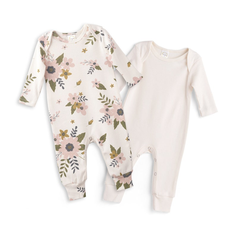053ae2bb781 Newborn Rompers Ivory and Meadow Flowers Set of 2 Newborn