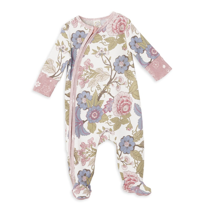 Baby Girl Zipper Footie Romper Pink and Blue Floral Newborn New Baby Gift