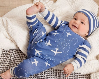 Baby Boy Coming Home Outfit, Newborn Boy Outfit, Baby Boy Romper, Baby Boy Beanie, Baby Boy Spaceship Airplane TesaBabe cr