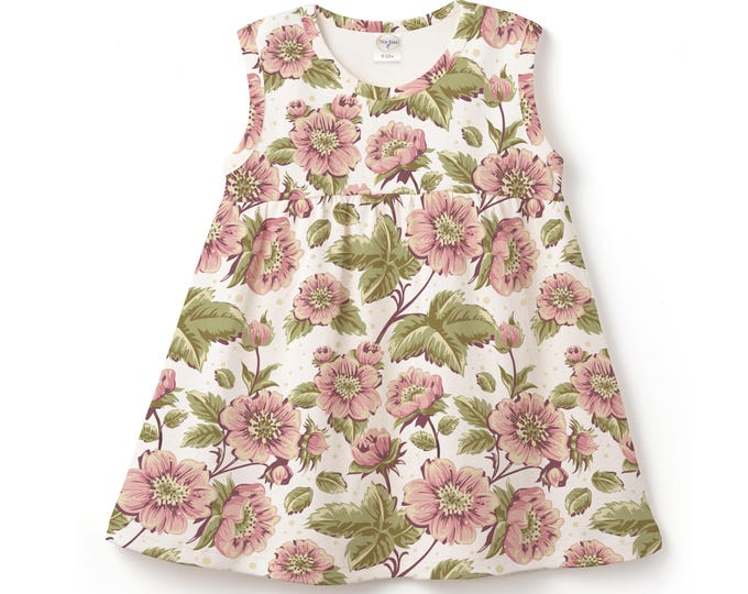 Baby Girl Dress, Baby Flower Girl Summer Dress, Infant Girl Flower Dress, Newborn Baby Girl Flowers Outfit, English Flowers Tesababe