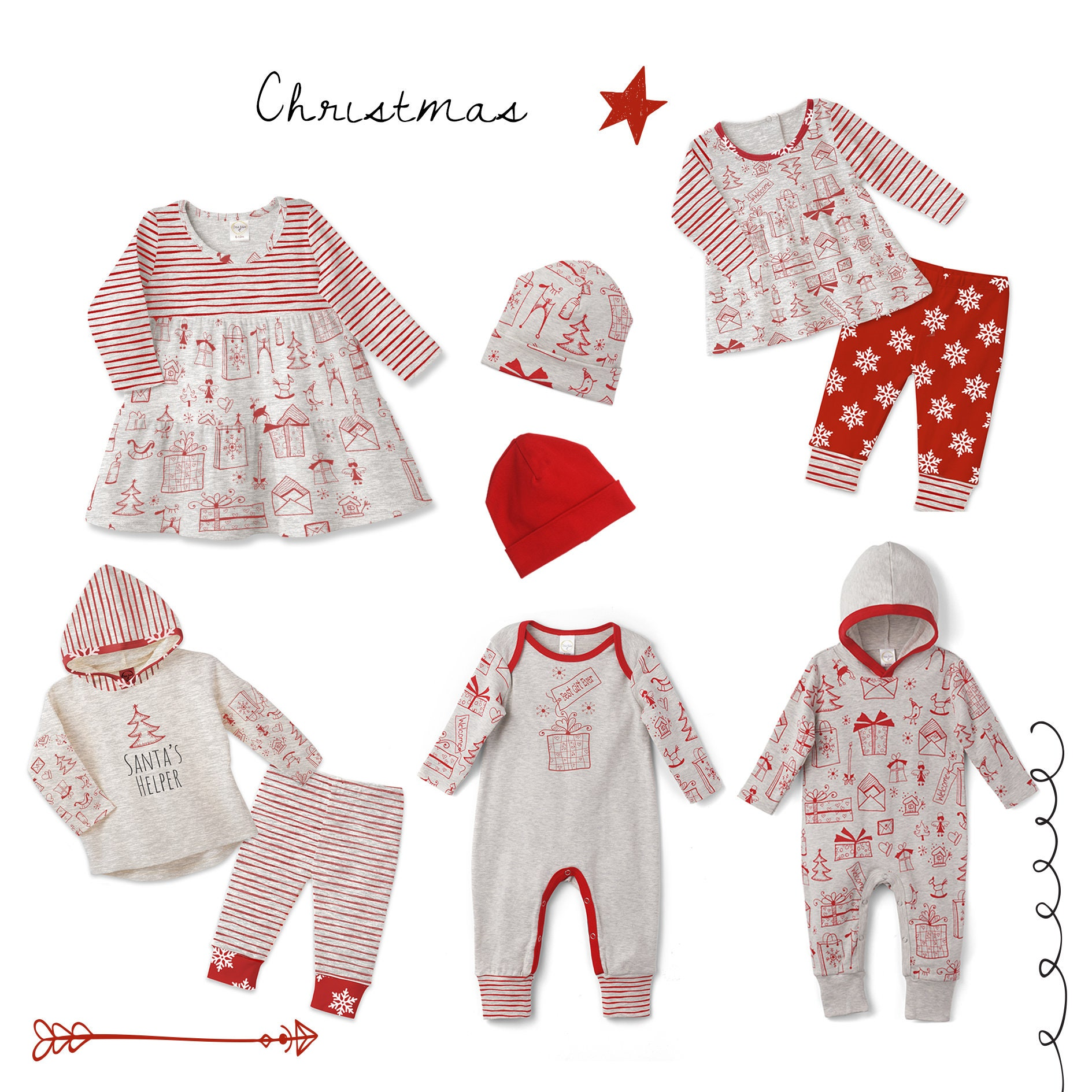 Baby Girl Christmas Outfit, Baby Girl Holiday Top Bottom, Baby Girl ...