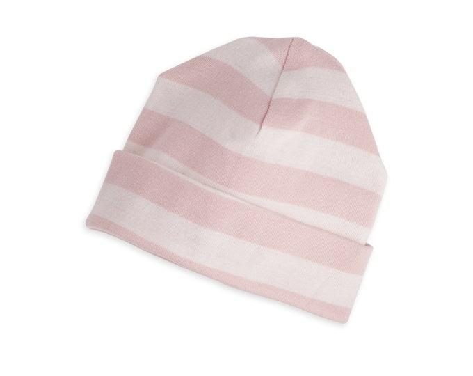 Baby Hat, Newborn Pink Striped Baby Hat, Unisex Striped Baby Hat, Pink Hat, Pink Striped Baby Hat, Boy Girl Beanie, Gray Stripe Cap TesaBabe