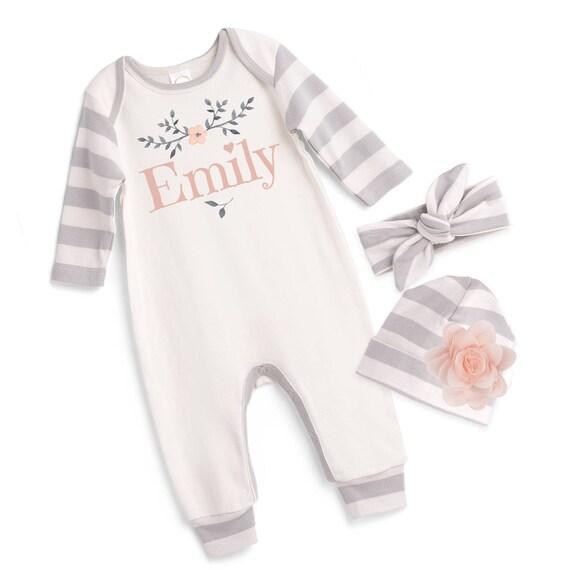 ac35eb1f4 Personalized Newborn Girl Coming Home Outfit Monogram Newborn
