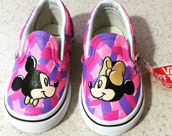 Mickey & Minnie Gold Bow and Bowtie Mosaic Toddler Vans Shoes