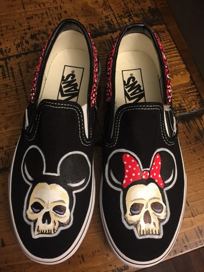 b880f266b5 Mickey   minnie Skull with roses Vans Slip Ons Womens 7