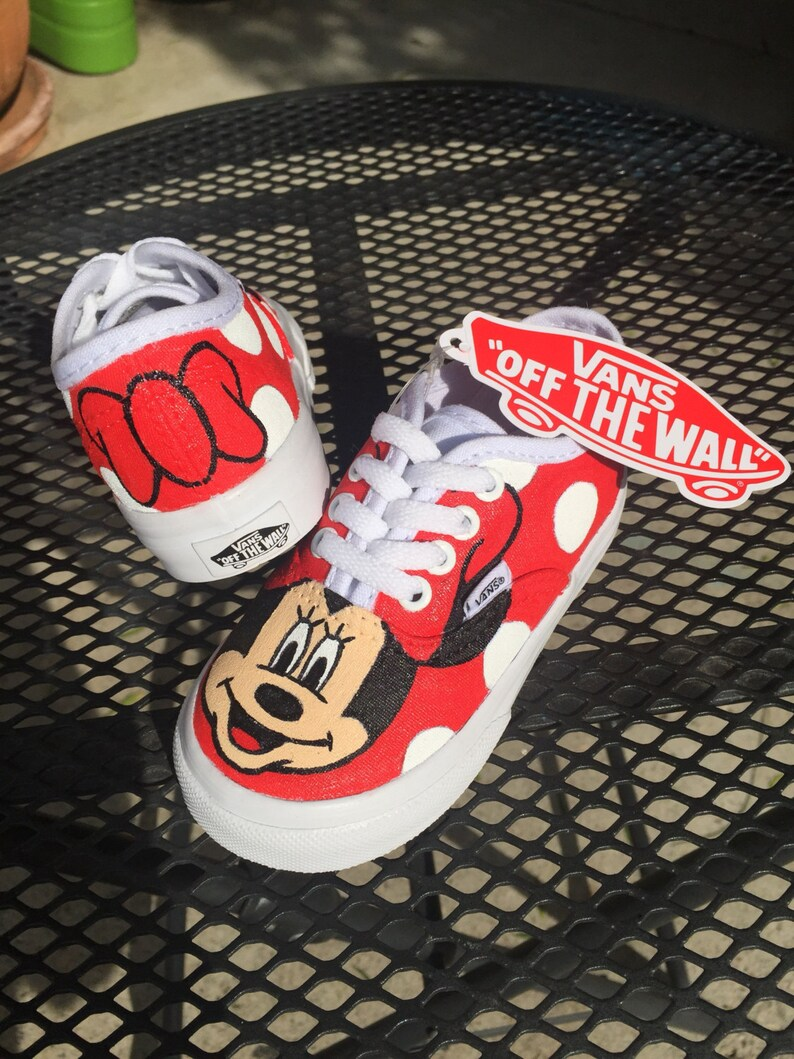 fff571299d9 Minnie Mouse Red Bow Polka Dot Vans Shoes Toddler