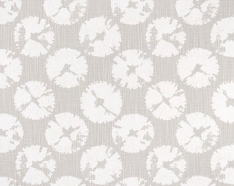 French grey and white in Sand dollar  Print. Grey and white Premier Prints.   Slub canvass Fabric by yard. Medium decor fabric.