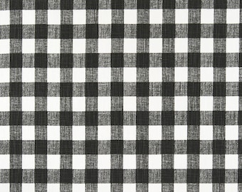 Dark greyBuffalo Plaid  Print. Ink  and white Premier Prints.   Slub canvass Fabric by yard. Medium decor fabric.