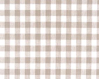 Ecru Buffalo Plaid  Print. Ecru and white Premier Prints. Slub canvass Fabric by yard. Medium decor fabric.