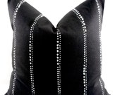 FARMHOUSE DECOR Black Pillow cover. Carlo. Black and White dotted stripe Throw pillow cover. Euro pillow case.