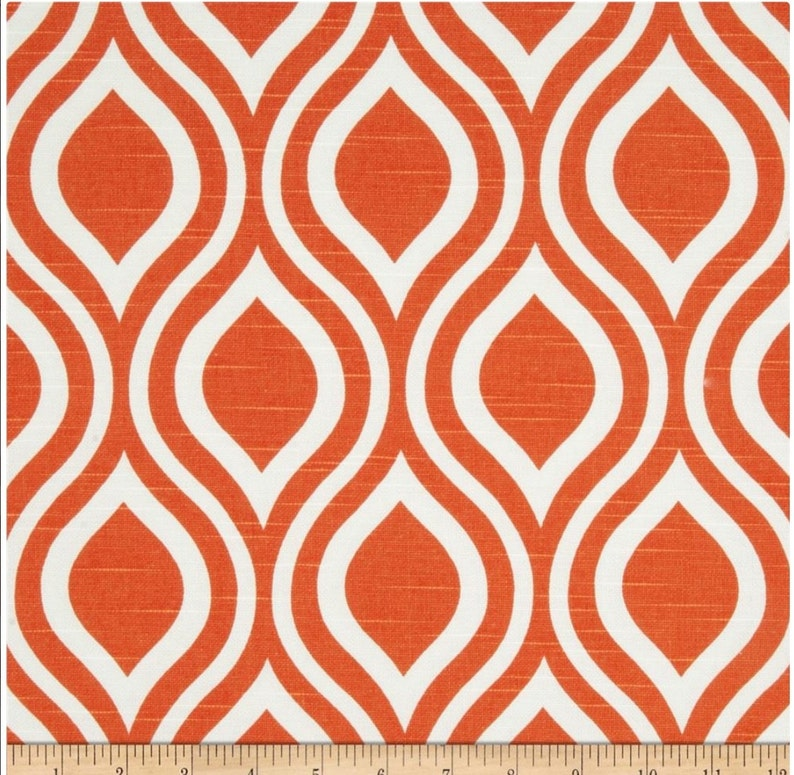 Curtain.2 Panel Curtain.tangelo.Window Treatment.orange and white.unlined.Nicole.Designers pattern.Choose  your sizes.cm