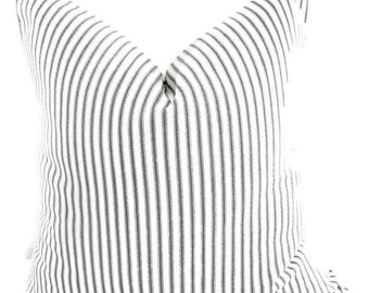 FARMHOUSE DECOR Black  Pillow cover. Black Classic  stripe Print Sham Cover. Black & White Throw pillow cover. Euro pillow case.