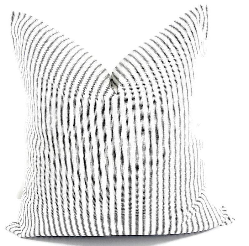 FARMHOUSE DECOR Black  Pillow cover. Black Classic  stripe image 1
