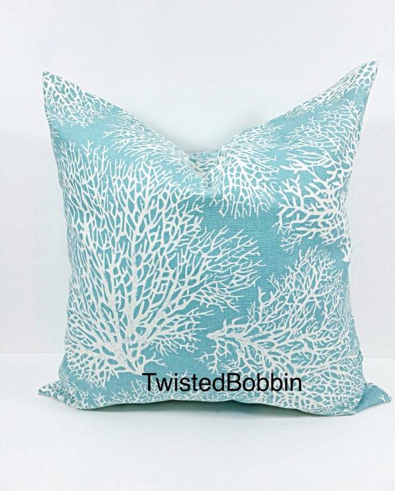 Coral Sofa Pillow: Pillow Cover. Sofa Pillow Cover. Coral Print Pillows