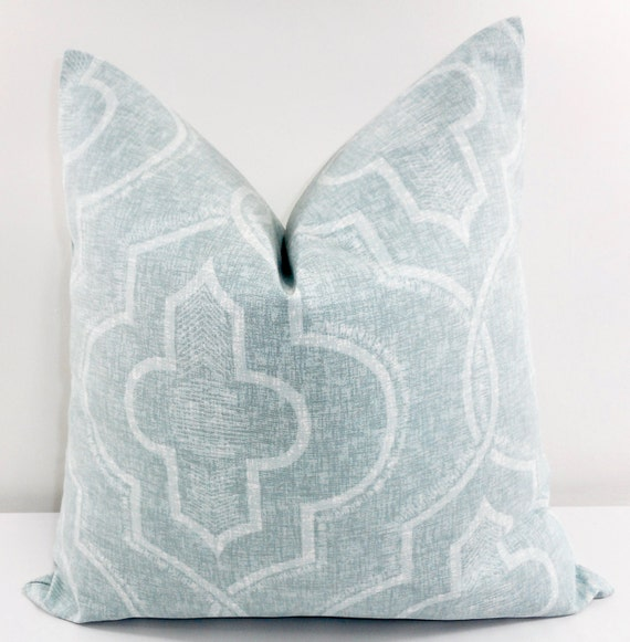 Blue Pillow Cover Newport Damask Spa Blue Light Blue And Etsy Custom Newport Pillow Covers