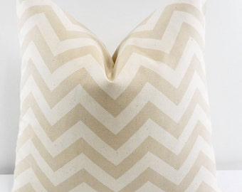 Beige Pillow cover. Chevron Print  Sofa Pillow cover. Zigzag Khaki  & Natural Sham Pillow Cover. Pillow case. Select size.