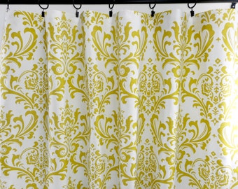 Green  Curtains. Artist Green  Curtains. Green and white Damask. Window Treatment. Cotton.unlined.Designers. Choose size