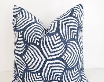 FARMHOUSE DECOR Blue  Pillow cover. Sea jewel print. Italian denim Slub Canvas  Throw pillow cover. Euro pillow case.