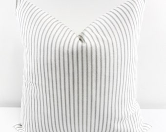 PILLOW. Pillow  Cover. Grey Classic Stripe. Grey & white Sofa Pillow Cover.Stripe Sham Cover.Cushion Covers.Pillow Case. cotton.Select size