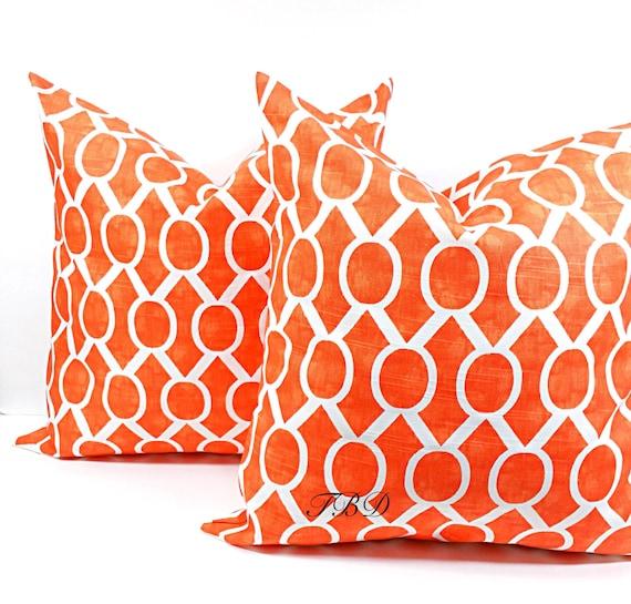 Orange Pillow Cover Set Of Two Burnt Orange And White Burnt Etsy