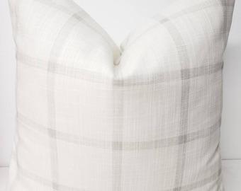 FARMHOUSE PILLOW COVER - White and Grey Check Pillow Cover  - Aaron white & Grey  Check - Sofa Pillow cover - Pillow cover - sham cover -