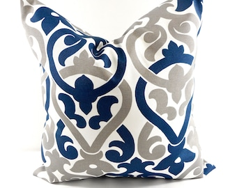 Navy and grey Pillow cover. Indoor. Outdoor. stain & dirt resistant Decorative pillow case. Select your size