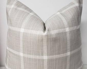 FARMHOUSE PILLOW COVER - French grey Check Pillow Cover - Grey Check- French Grey Abbot - Geometric print- Grey & White sham cover - Pillow.