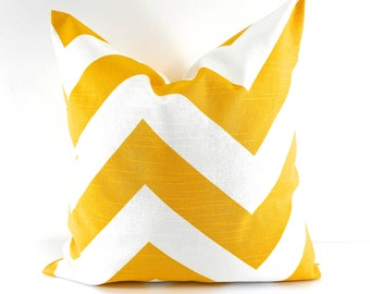 YELLOW PILLOW cover. Zippy cushion cover. Chevron. Corn yellow and white Pillow Cover Sham Pillow case.Select your size.