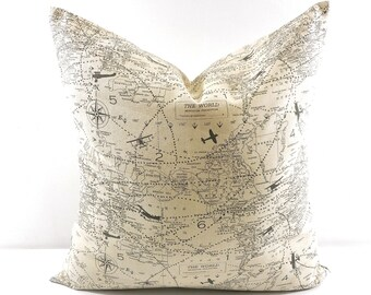 Throw PILLOW. Map Pillow cover. Decorative Pillow. Map sham cover. Natural and grey. Sham Pillow Cover Sham Pillow case. Select your size.