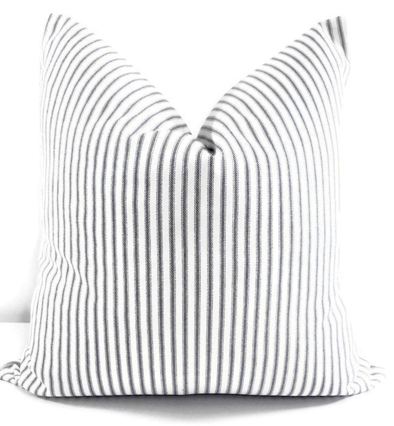 FARMHOUSE PILLOW COVER. Classic Stripe  Pillow Cover. Navy image 0