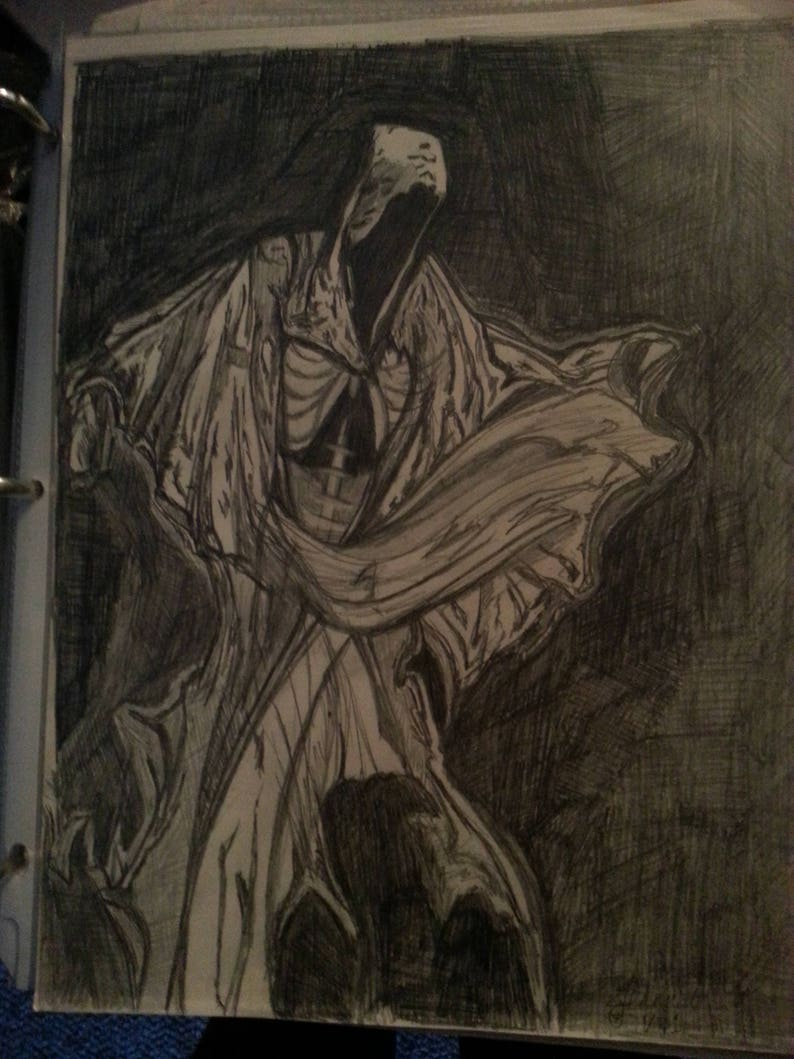 Black And White Grim Reaper Original Drawing In Pencilhooded Cloak