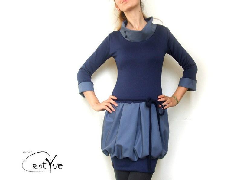 bärbel balloon dress in blue with stand-up collar deep waist image 0