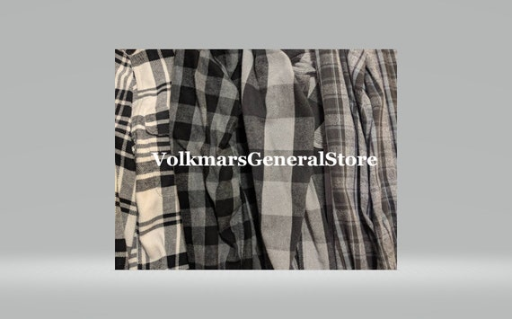 Two Black/Gray Flannel Shirts For Men or Women Fla