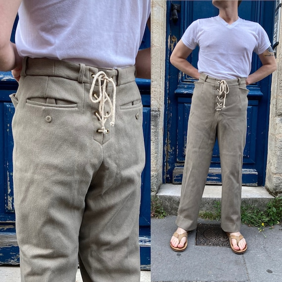 Midcentury French Drawstring Hunting Trousers Cord