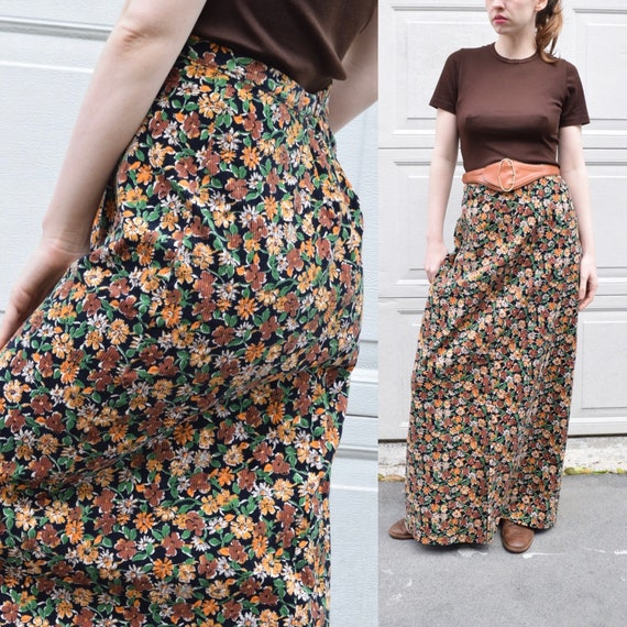 70s French Corduroy High Waist Floral Maxi Skirt S