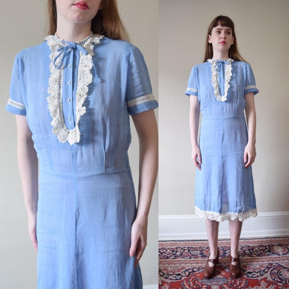40s Cornflower Linen and Lace Dress // XS S