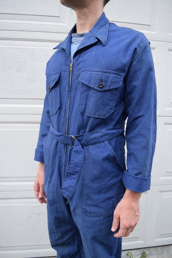 40s 50s Jumpsuit French Workwear Blue Belted Cove… - image 4