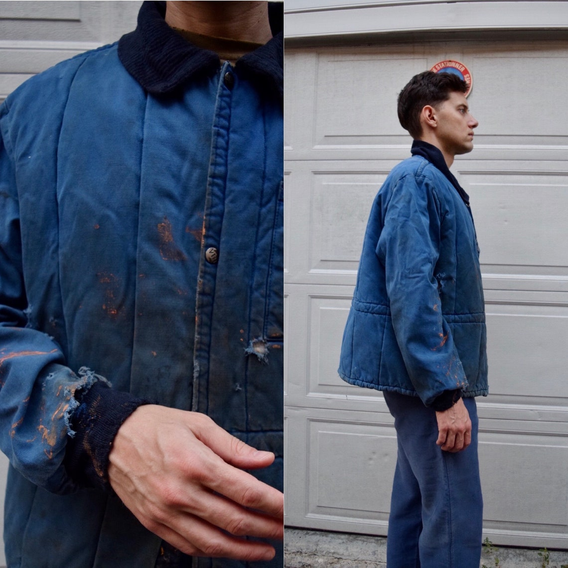 90s French Work Wear Blue Jacket // Rare Design M L
