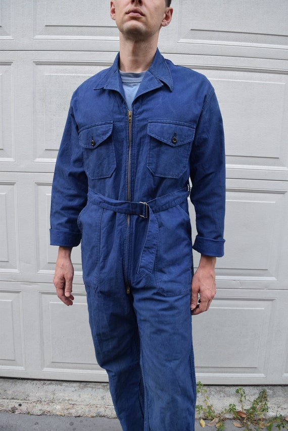 40s 50s Jumpsuit French Workwear Blue Belted Cove… - image 7