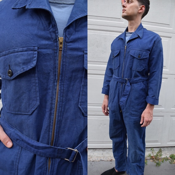40s 50s Jumpsuit French Workwear Blue Belted Cover