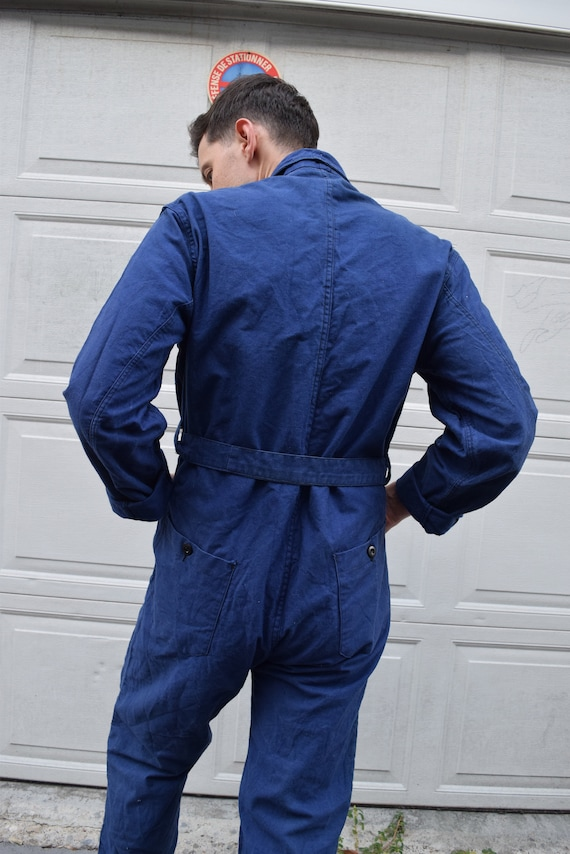 40s 50s Jumpsuit French Workwear Blue Belted Cove… - image 5