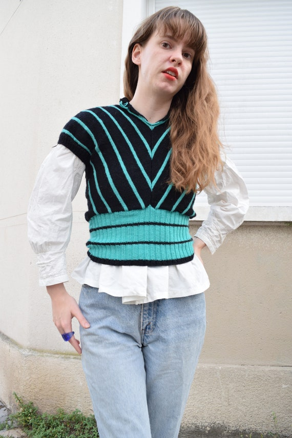 40s French Wool Cropped Puff Sleeve Knit Sweater /