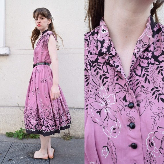 40s French Linen Floral Day Dress // Orchid Purple
