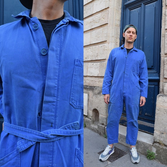 50s 60s French Workwear Blue Jumpsuit // Cotton Bl