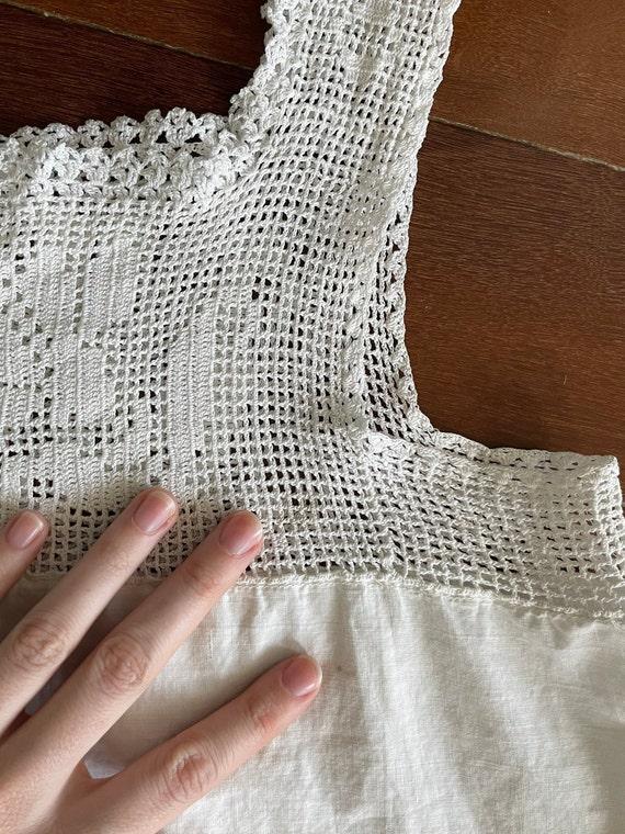 Antique Edwardian 20s Crochet Cotton Tank Top Cam… - image 10